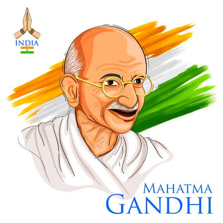 独立記念日やガンディー生誕記念日のトリコロール インドの背景に国家英雄、自由の戦闘機のマハトマ ・ ガンジーの例 写真素材 - 82518207