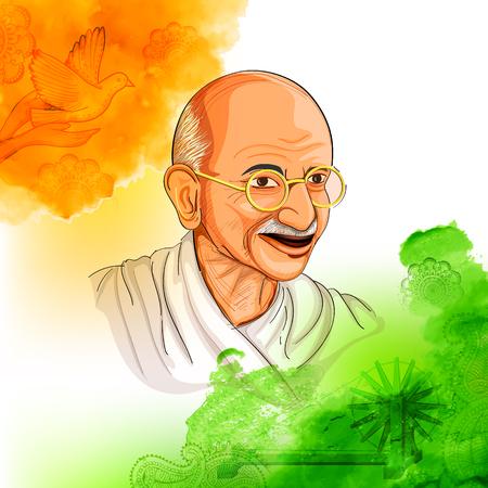 Illustration von Tricolor Indien Hintergrund mit Nation Held und Freiheit Kämpfer Mahatma Gandhi für Independence Day oder Gandhi Jayanti