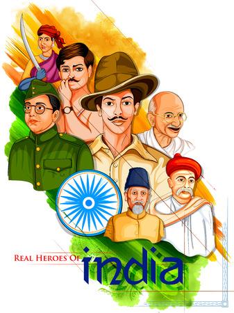 Illustrazione di sfondo Tricolor India con Nazione Eroe e Freedom Fighter come Mahatma Gandhi, Bhagat Singh, Subhash Chandra Bose per l'Independence Day Vettoriali