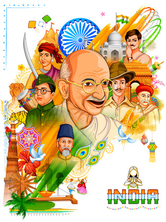 Illustration of Tricolor India background with Nation Hero and Freedom Fighter like Mahatma Gandhi, Bhagat Singh, Subhash Chandra Bose for Independence Day Banco de Imagens - 82518202