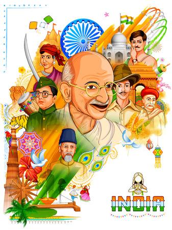 Illustrazione di sfondo Tricolor India con Nazione Eroe e Freedom Fighter come Mahatma Gandhi, Bhagat Singh, Subhash Chandra Bose per l'Independence Day