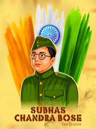 socialist: Illustration of Tricolor India background with Nation Hero and Freedom Fighter Subhash Chandra Bose for Independence Day Illustration