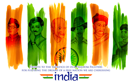 Illustration of Tricolor India background with Nation Hero and Freedom Fighter like Mahatma Gandhi, Bhagat Singh, Subhash Chandra Bose for Independence Day 일러스트