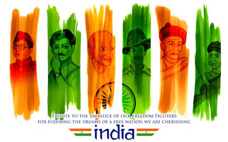 Illustration du fond indien tricolore avec le héros national et le combattant de la liberté tels que le Mahatma Gandhi, le Bhagat Singh et le Chandra Bose de Subhash pour le Jour de l'indépendance Vecteurs