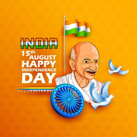 Illustratie van Tricolor India achtergrond met Nation Hero en Freedom Fighter Mahatma Gandhi voor Independence Day of Gandhi Jayanti