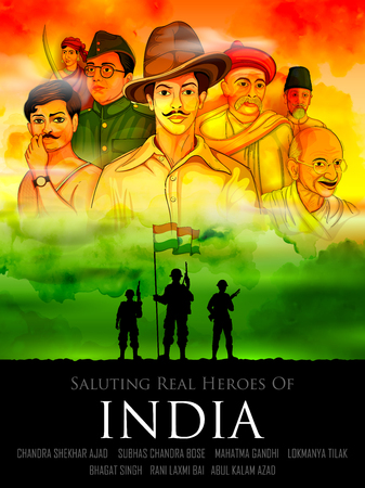 Tricolor Indien Hintergrund mit Nation Held und Freiheit Kämpfer für Unabhängigkeitstag Standard-Bild - 82518628