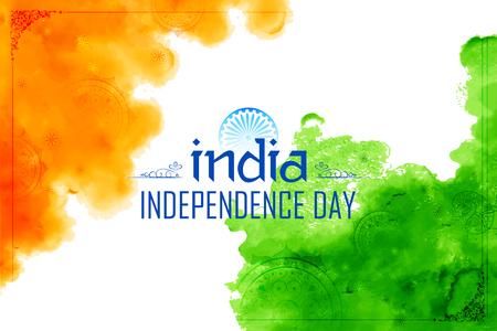 Abstracte de waterverfachtergrond van de tricolor Indische vlag voor Gelukkige Onafhankelijkheidsdag van India Stock Illustratie