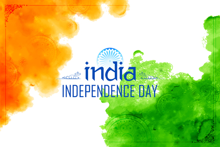 Abstract tricolor Indian flag watercolor background for Happy Independence Day of India