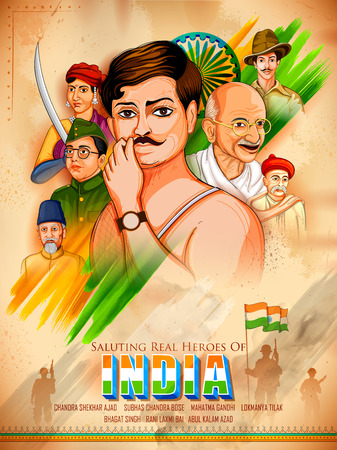 Tricolor India background with Nation Hero and Freedom Fighter for Independence Day Illustration
