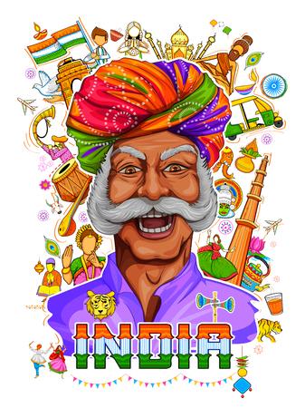 Indyjski wzór przedstawiający jego niesamowitą kulturę i różnorodność z pomnikiem, tańcem i festiwalem obchodów na 15 sierpnia Dzień Niepodległości Indii