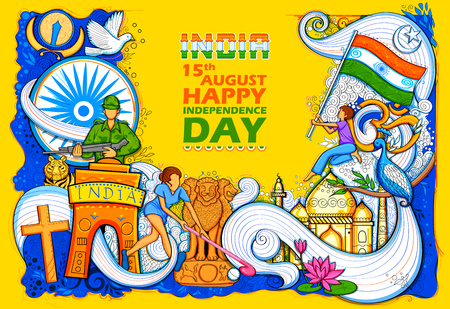 Indian background showing its incredible culture and diversity with monument, dance and festival celebration for 15th August Independence Day of India Vectores