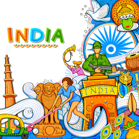Indian background showing its incredible culture and diversity with monument, dance and festival celebration for 15th August Independence Day of India Çizim