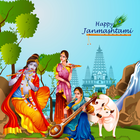 radha: Lord Krishna and Radha on Happy Janmashtami background