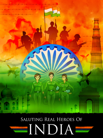 Indian tricolor background saluting real heroes of India showing armed force and women pilot