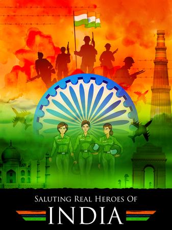 Indische tricolorachtergrond die echte helden van India groeten die bewapende kracht en vrouwen proef tonen