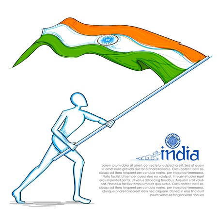 Man hoisting Indian flag celebrating Independence Day of India Illustration