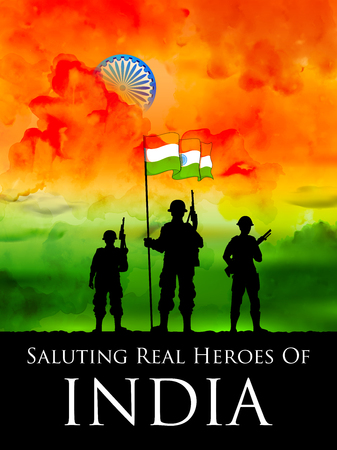 インドの背景の三色旗の立っているインド人の兵士 写真素材