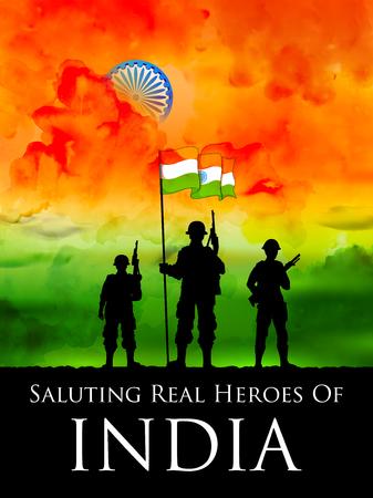 인도 군인은 인도의 삼색기의 국기를 배경으로 서있다. 스톡 콘텐츠