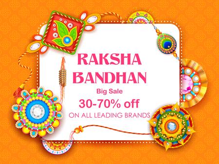 Sale and promotion banner poster with Decorative Rakhi for Raksha Bandhan, Indian festival of brother and sister bonding celebration