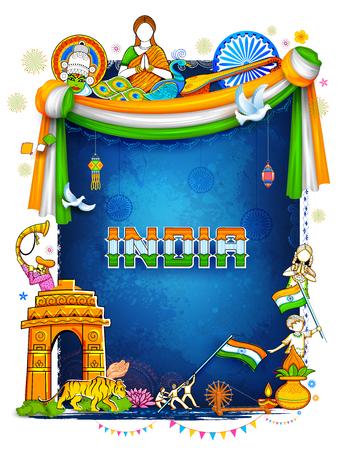 India achtergrond toont zijn ongelooflijke cultuur en diversiteit met een monument, dansfestival Stock Illustratie