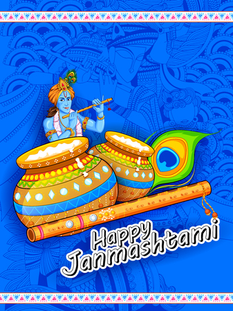 Happy Janmashtami festival of India design illustration of banner or poster background Illustration