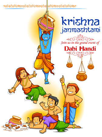 Lord Krishna in Happy Janmashtami festival of India, poster design