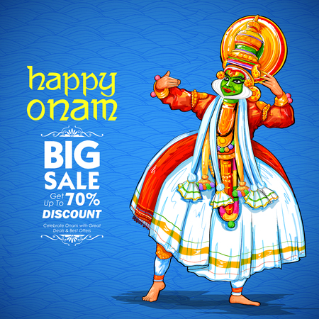 Illustration of colorful Kathakali dancer on advertisement and promotion background for Happy Onam festival of South India Kerala Stock Vector - 84363152