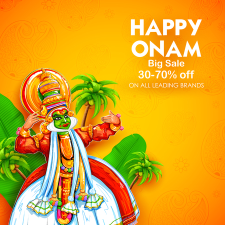Illustration of colorful Kathakali dancer on advertisement and promotion background for Happy Onam festival of South India Kerala