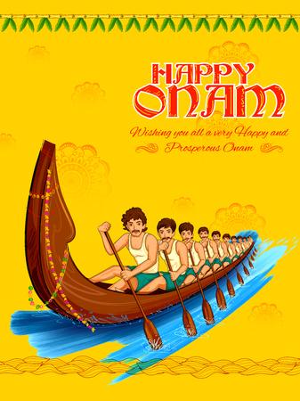 sravanmahotsav: Snakeboat race in Onam celebration for Happy Onam festival of South India Kerala Illustration