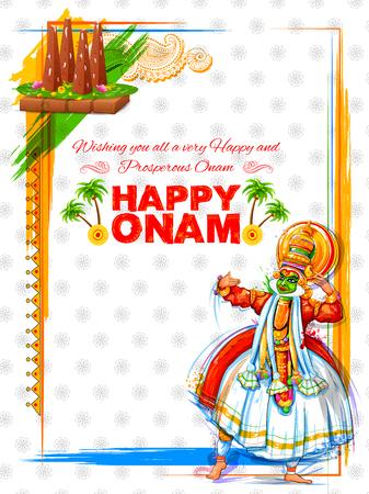 sravanmahotsav: Kathakali dancer on for Happy Onam festival of South India Kerala Illustration