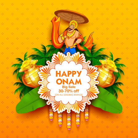 Re Mahabali su pubblicità e promozione per il festival Happy Onam dell'India meridionale Kerala Archivio Fotografico - 84364672