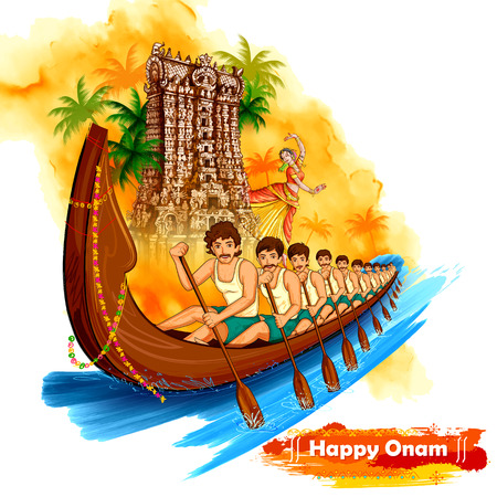 Meenakshi temple backdrop Snakeboat race in Onam celebration for Happy Onam festival of South India Kerala
