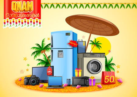 Illustration of electronics sale for advertisement and promotion for Happy Onam festival of South India Kerala Illustration