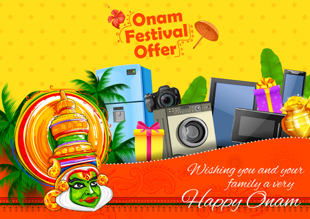 Kathakali dancer on advertisement and promotion for Happy Onam festival of South India Kerala