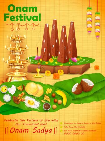 Decorated onathappan for Happy Onam festival of South India Kerala Ilustração