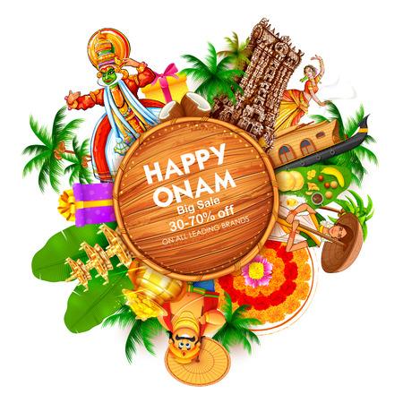 Pubblicità e promozione per il festival Happy Onam dell'India meridionale Kerala Archivio Fotografico - 84364733