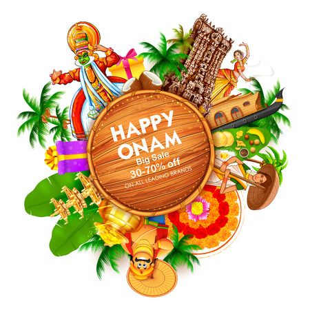 Advertisement and promotion for Happy Onam festival of South India Kerala