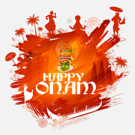 Kathakali dancer on for Happy Onam festival of South India Kerala 일러스트