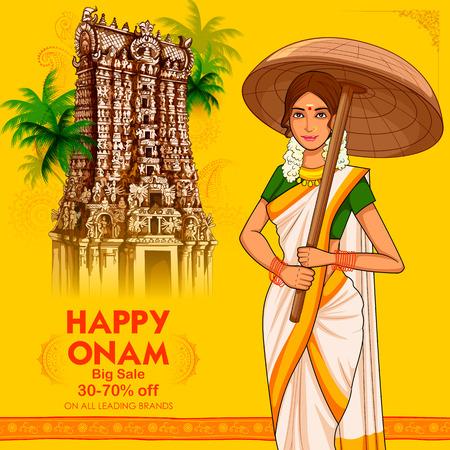 South Indian Keralite woman with umbrella celebrating Onam Vetores