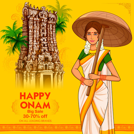 South Indian Keralite woman with umbrella celebrating Onam