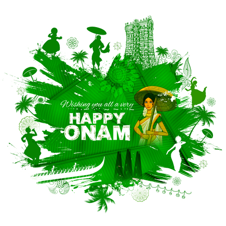 South Indian Keralite woman with celebrating Onam