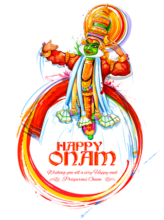 Kathakali dancer on for Happy Onam festival of South India Kerala Illustration