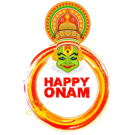 sravanmahotsav: Kathakali dancer on background for Happy Onam festival of South India Kerala