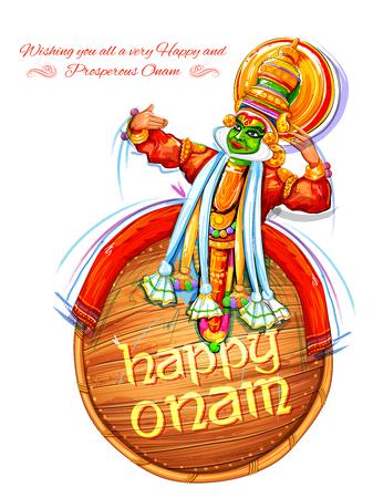 Kathakali dancer on background for Happy Onam festival of South India Kerala