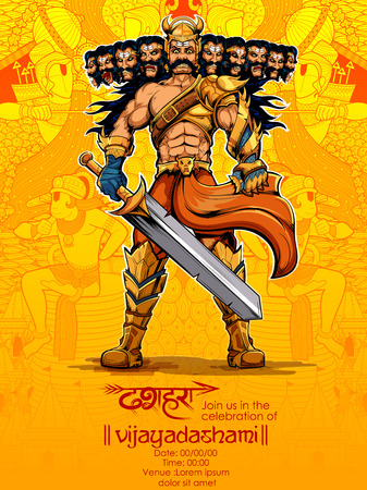 warriors: Ravana with ten heads for Dussehra