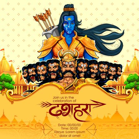 Lord Rama met boogpijl die Ravan doodt