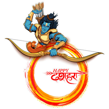 warriors: Lord Rama with arrow in Dussehra Navratri festival of India poster Illustration