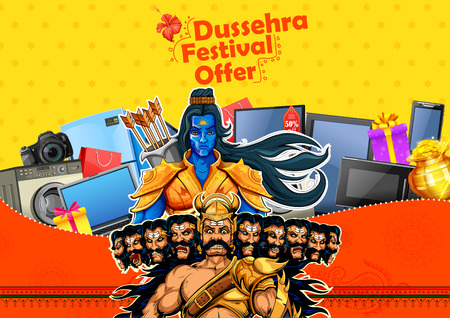 Lord Rama and Ravana for Happy Dussehra sale promotion