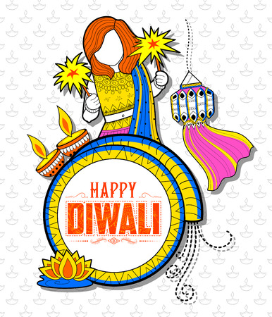 dharma: Kid celebrating happy Diwali Holiday doodle background for light festival of India