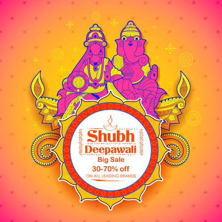 Goddess Lakshmi and Lord Ganesha on happy Diwali Holiday doodle background for light festival of India Illustration